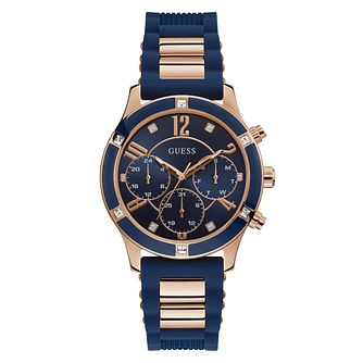 Guess Ladies' Rose Gold Tone & Blue Silicone Strap Watch - Product number 4094387