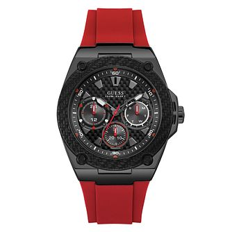 Guess Men's Black Dial Red Silicone Strap Watch - Product number 4094409