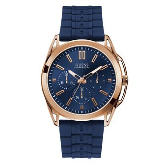 Guess Men's Blue Silicone Strap Watch - Product number 4094425