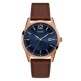 Guess Men's Navy Dial Brown Leather Strap Watch - Product number 4094433