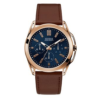 Guess Men's Brown Leather Strap Watch - Product number 4094441