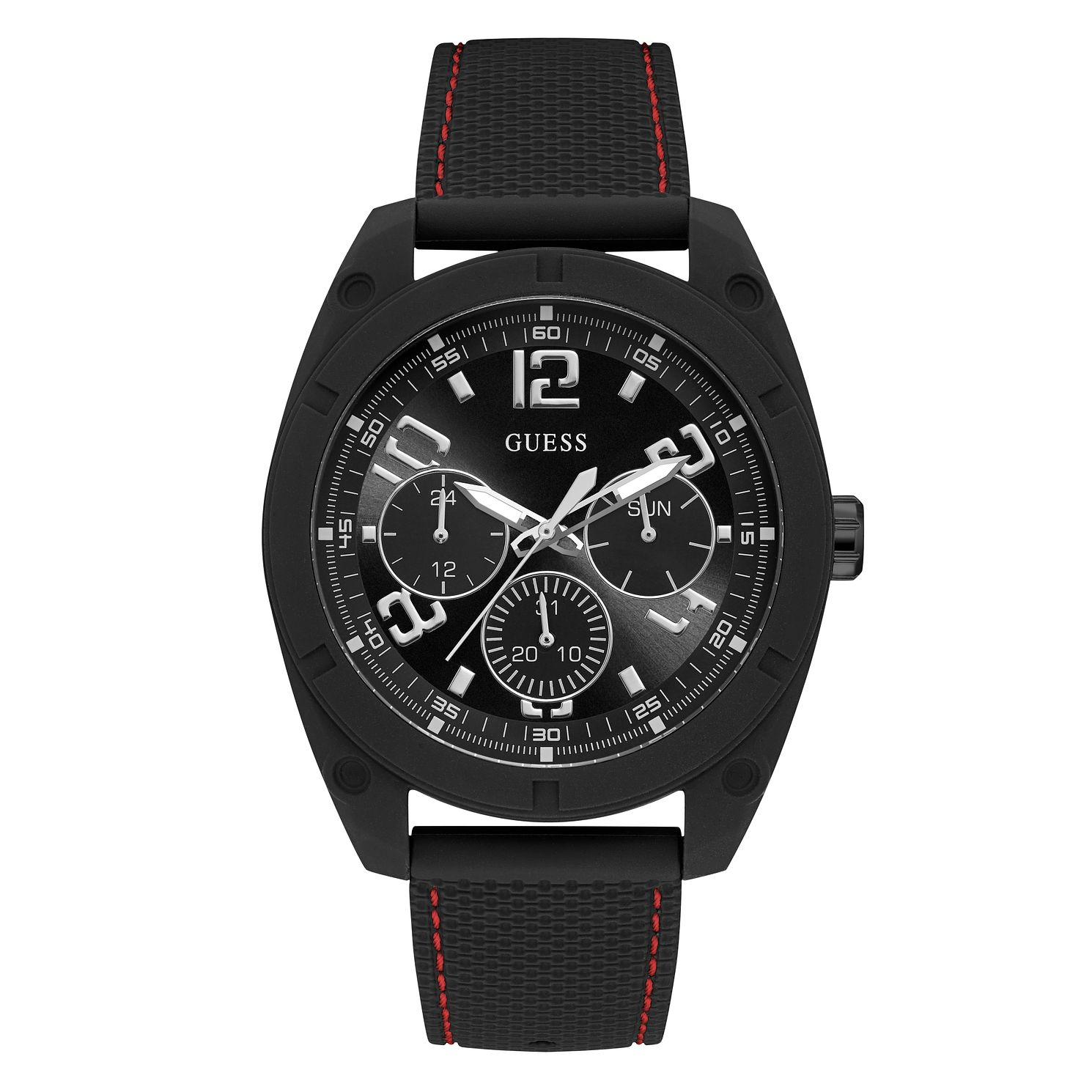 Guess Men's Black Dial Black Silicone Strap Watch - Product number 4094581