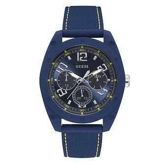Guess Men's Blue Dial Blue Silicone Strap Watch - Product number 4094603
