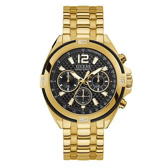Guess Men's Black Dial Gold Tone Bracelet Watch - Product number 4094638