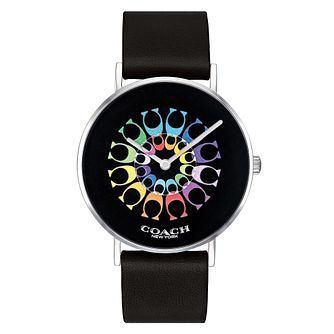 Coach Perry Ladies' Black Leather Strap Watch - Product number 4094751