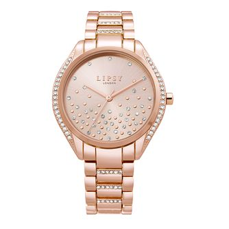 Lipsy Glitz Dial Ladies' Rose Gold Tone Bracelet Watch - Product number 4094778