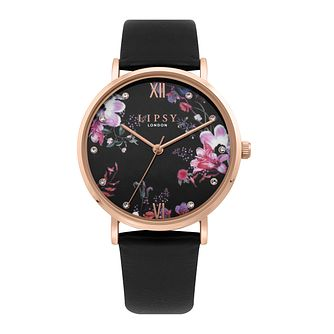 Lipsy Floral Dial Ladies' Black Leather Strap Watch - Product number 4094794