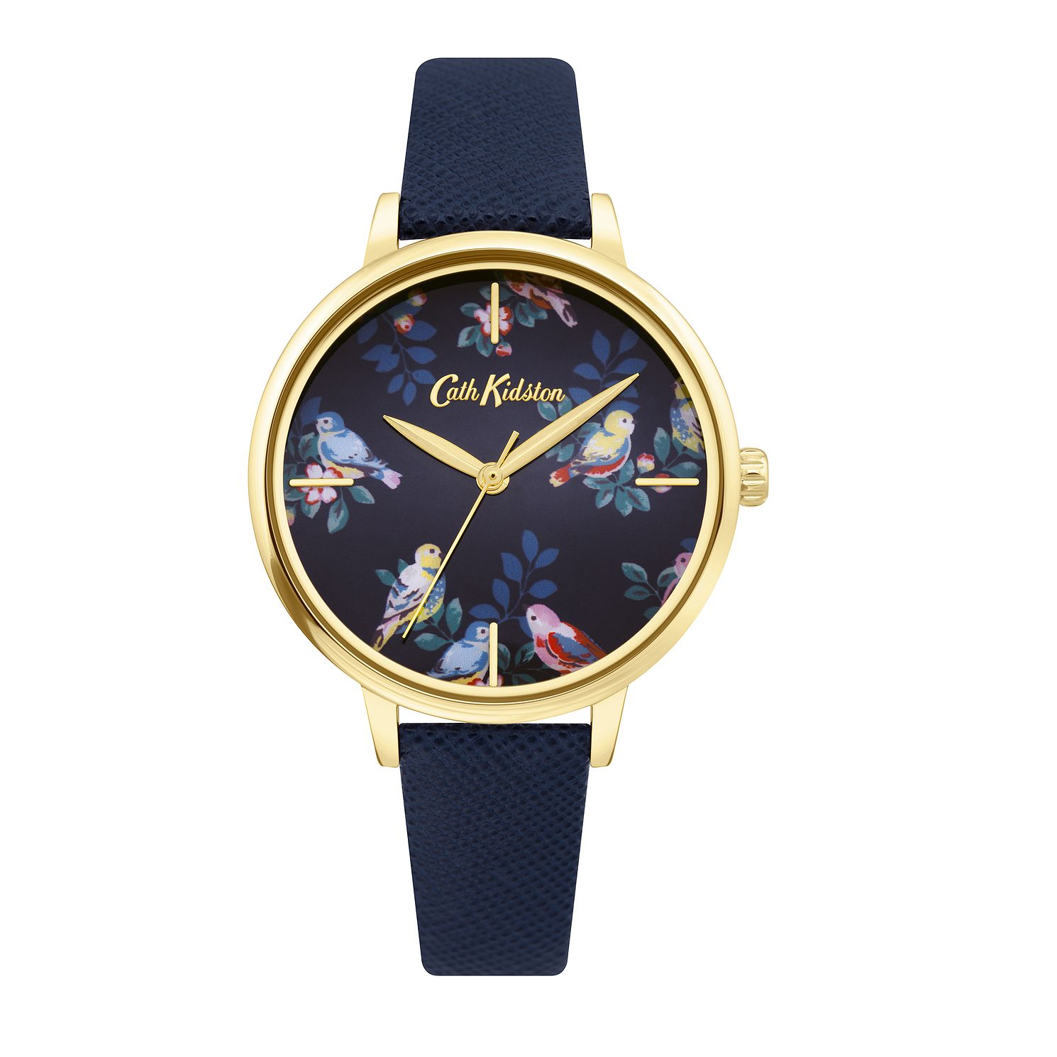 Cath Kidston Spring Birds Ladies' Navy Leather Strap Watch - Product number 4095278
