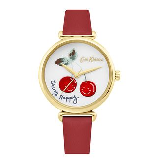 Cath Kidston Cherry Happy Ladies' Red Leather Strap Watch - Product number 4095340