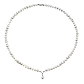 9ct White Gold Cultured Freshwater Pearl & Diamond Necklace - Product number 4095618