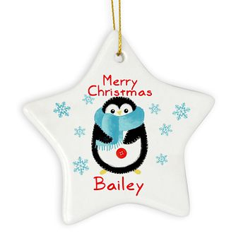 Felt Stitch Penguin Ceramic Star Decoration - Product number 4096045