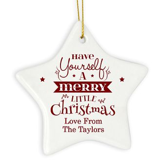 Merry Little Christmas Ceramic Star Decoration - Product number 4096126
