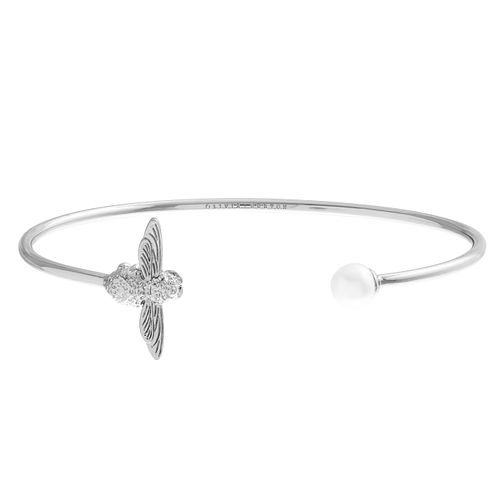 Olivia Burton Rhodium Plated Pearl Bee Bangle - Product number 4102665