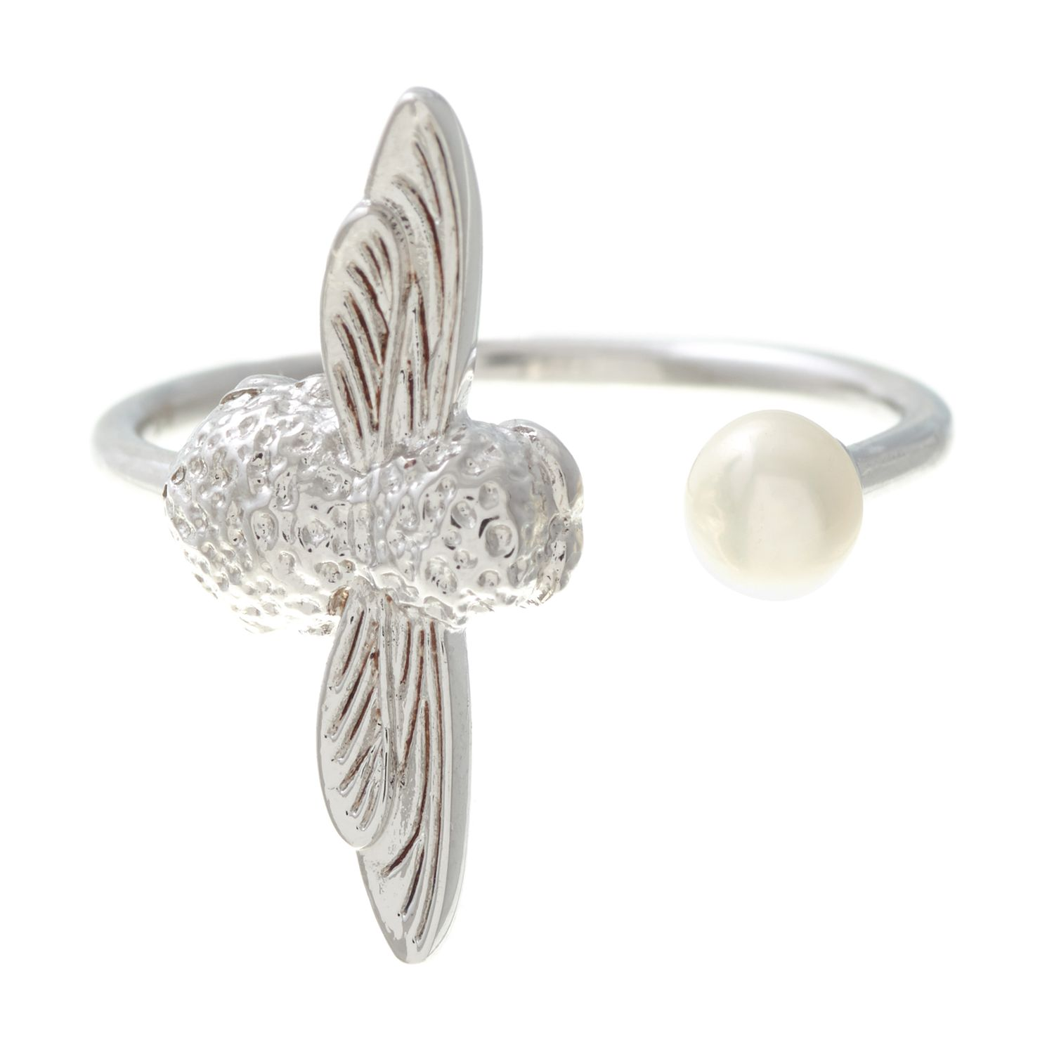 Olivia Burton Rhodium Plated Pearl Bee Ring - Product number 4102967