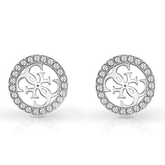 Guess Rhodium Plated Swarovski Crystal 4-G Stud Earrings - Product number 4103157