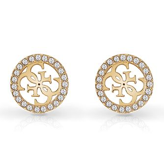 Guess Yellow Gold Tone Swarovski Crystal 4-G Stud Earrings - Product number 4103203