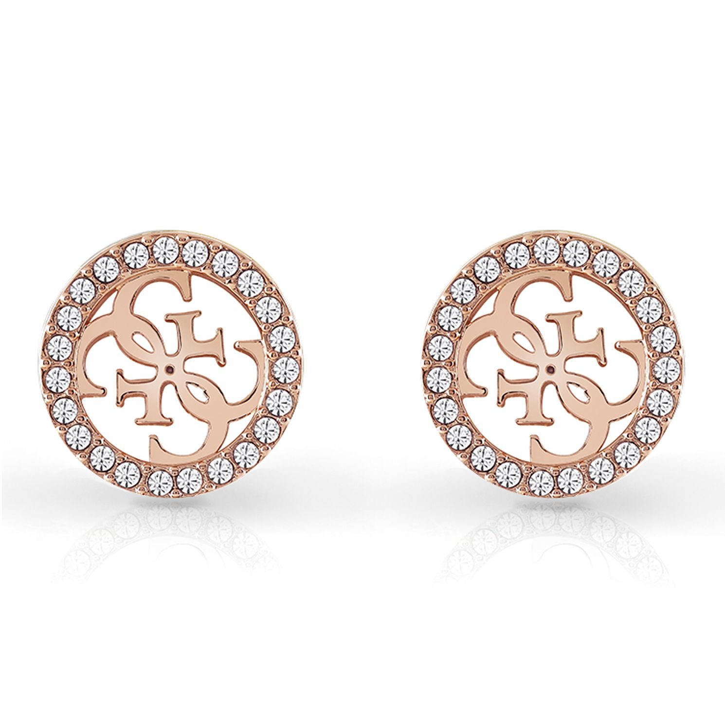 Guess Rose Gold Tone Swarovski Crystal 4-G Stud Earrings - Product number 4103211
