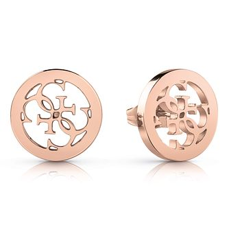Guess Rose Gold Tone 4-G Stud Earrings - Product number 4103327