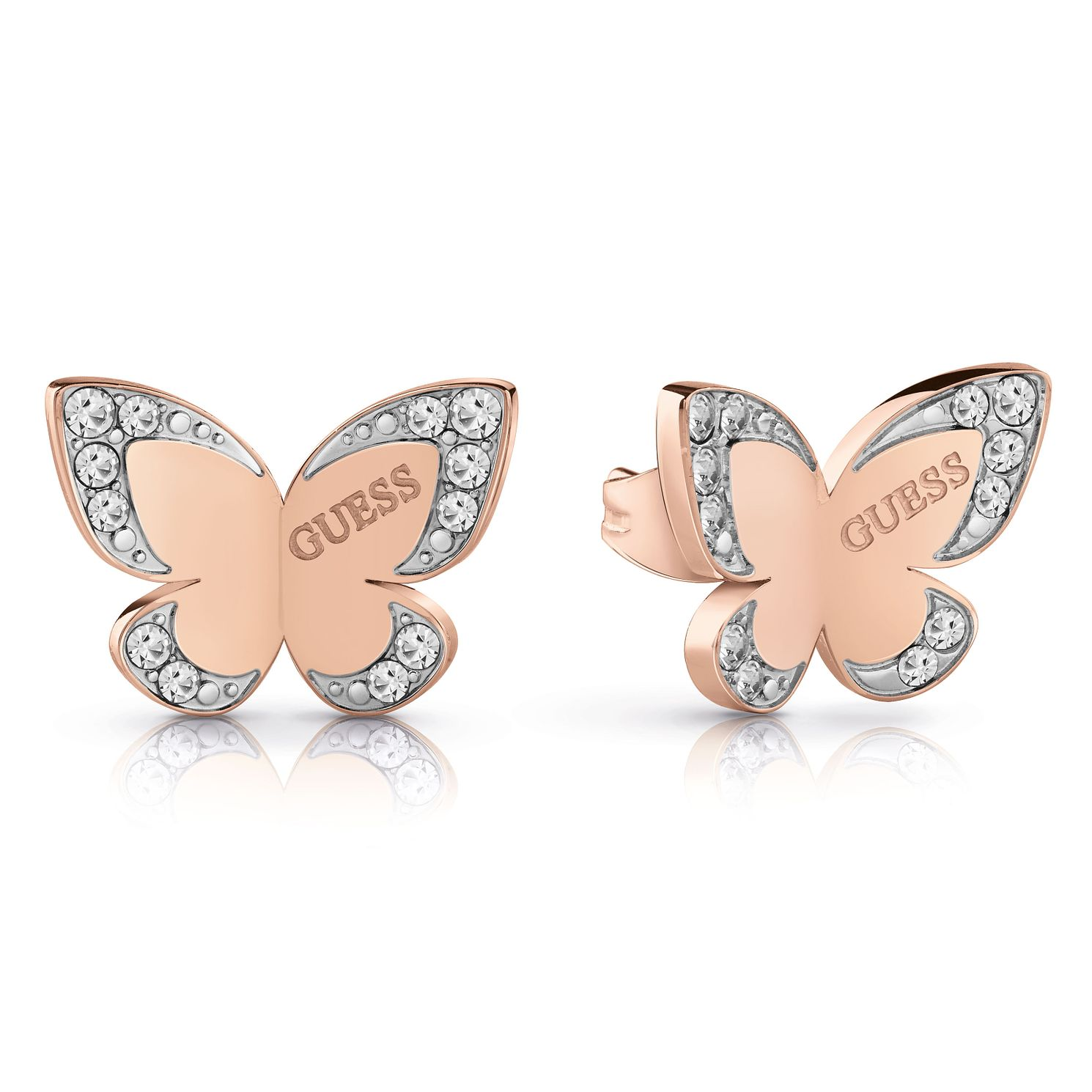 Guess Two Tone Swarovski Crystal Butterfly Stud Earrings - Product number 4103335