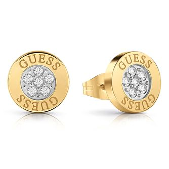 Guess Yellow Gold Tone Swarovski Crystal Logo Stud Earrings - Product number 4103394