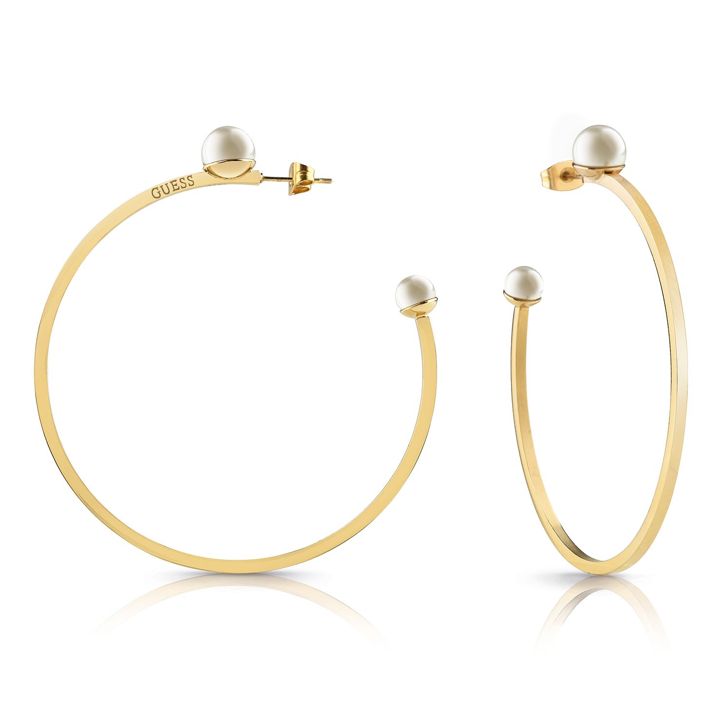 Guess Yellow Gold Tone Faux Pearl Hoop Earrings - Product number 4103475