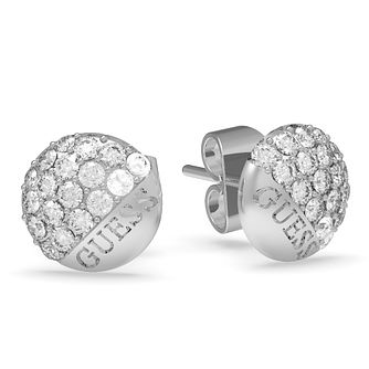 Guess Rhodium Plated Swarovski Crystal Stud Earrings - Product number 4103491