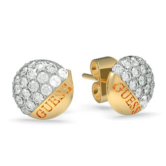 Guess Yellow Gold Plated Swarovski Crystal Stud Earrings - Product number 4103572