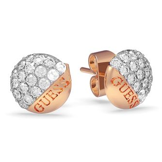 Guess Rose Gold Plated Swarovski Crystal Stud Earrings - Product number 4103580