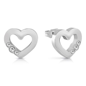 Guess Rhodium Plated Swarovski Crystal Heart Stud Earrings - Product number 4103602