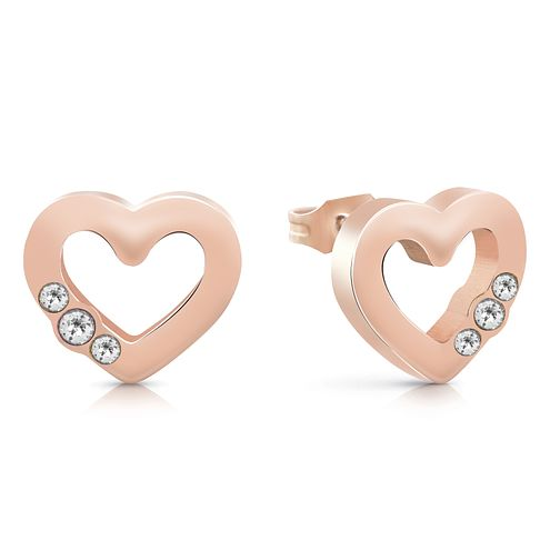 Guess Rose Gold Tone Swarovski Crystal Heart Stud Earrings - Product number 4103718