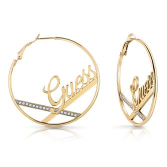 Guess Yellow Gold Plated Swarovski Crystal Hoop Earrings - Product number 4103734
