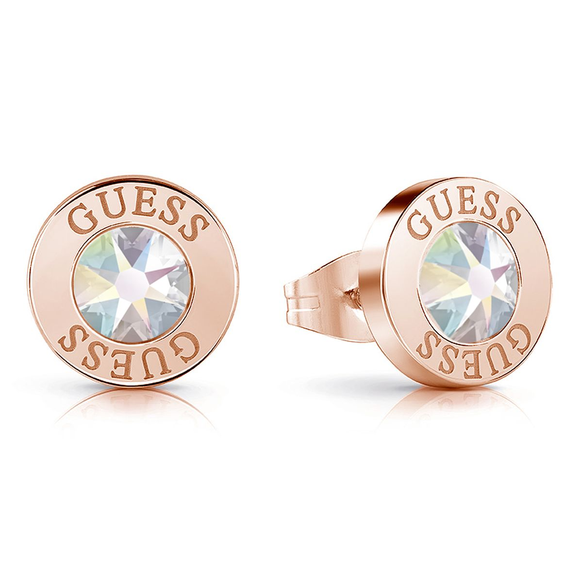 Guess Rose Gold Tone Swarovski Crystal Stud Earrings - Product number 4103777