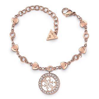 Guess Rose Gold Tone Swarovski Crystal Heart Chain Bracelet - Product number 4104234