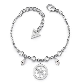 Guess Rhodium Plated Swarovski Crystal 4-G Charm Bracelet - Product number 4104307