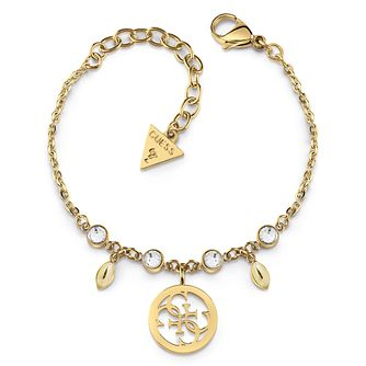 Guess Yellow Gold Tone Swarovski Crystal 4-G Charm Bracelet - Product number 4104315