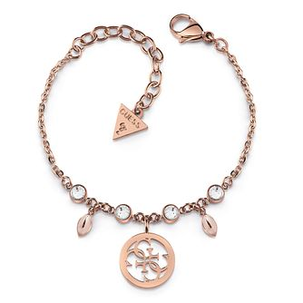 Guess Rose Gold Tone Swarovski Crystal 4-G Charm Bracelet - Product number 4104382