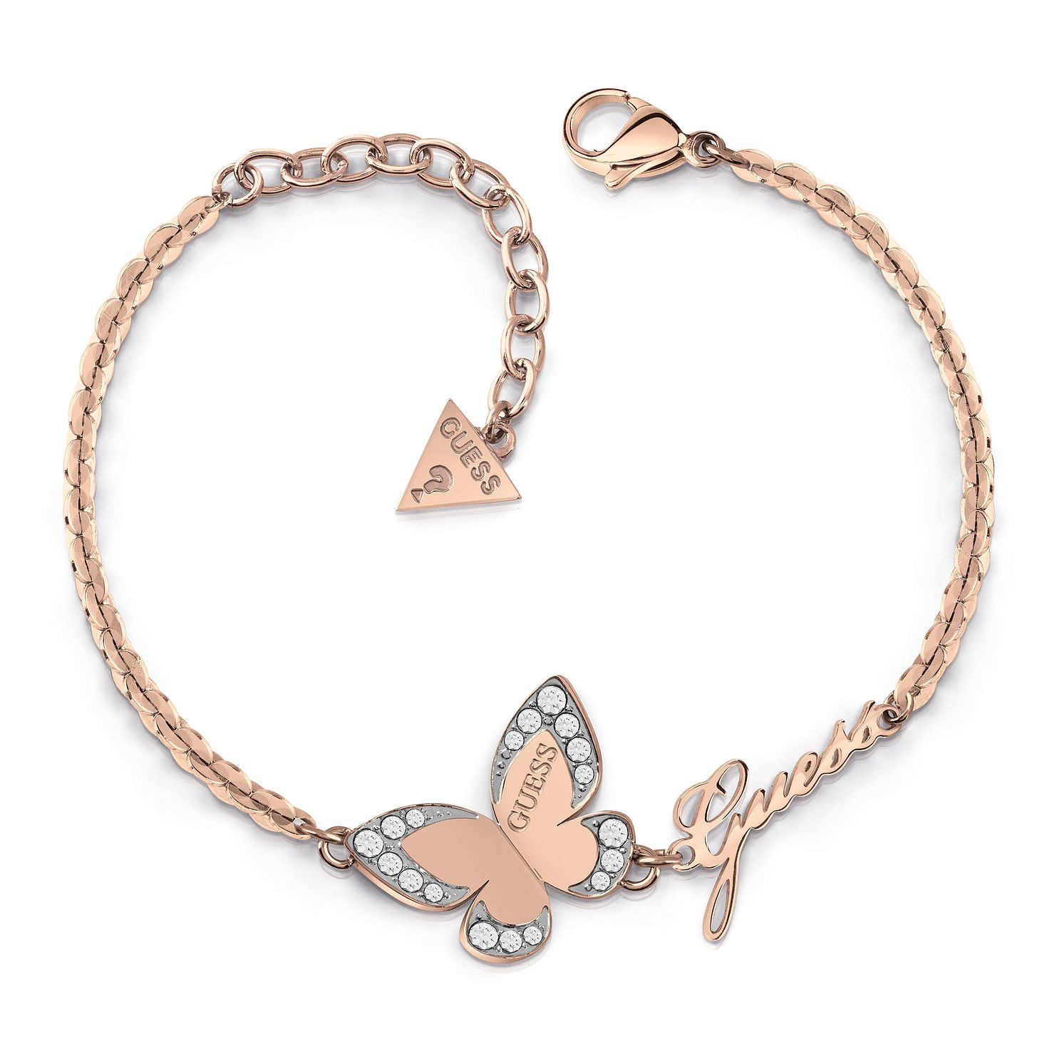 Guess Rose Gold Tone Swarovski Crystal Butterfly Bracelet - Product number 4104471