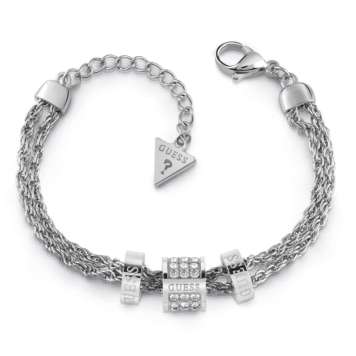 Guess Rhodium Plated Swarovski Crystal Logo Charm Bracelet - Product number 4104536