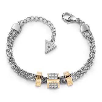 Guess Two Tone Swarovski Crystal Logo Charm Bracelet - Product number 4104544
