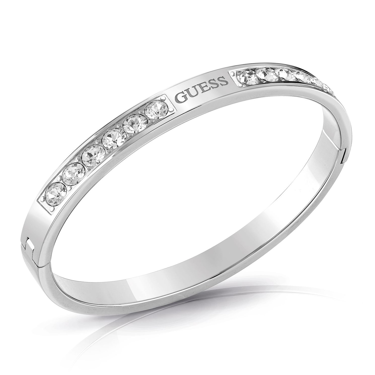 Guess Rhodium Plated Swarovski Crystal Logo Bangle - Product number 4104595