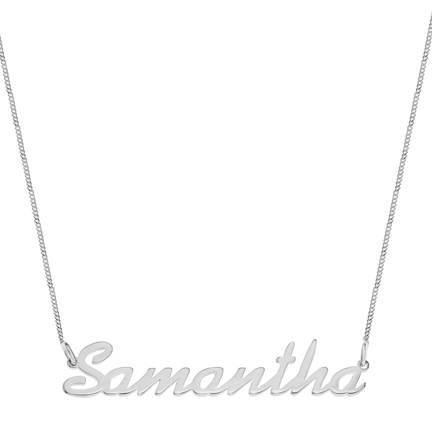 Sterling Silver Samantha Italics Nameplate Necklace - Product number 4104803