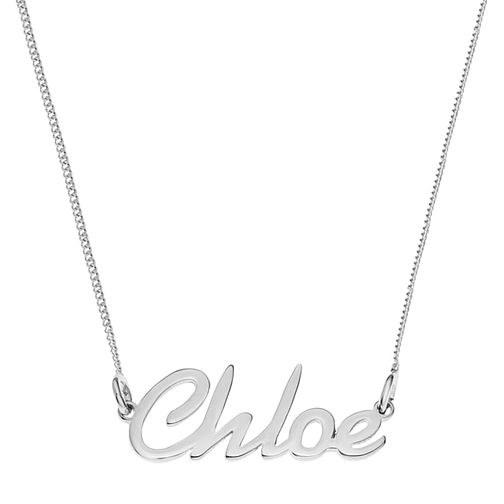 Sterling Silver Chloe Italics Nameplate Necklace - Product number 4104846