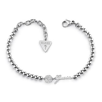 Guess Rhodium Plated Swarovski Crystal Beaded Bracelet - Product number 4104919