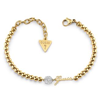 Guess Yellow Gold Tone Swarovski Crystal Beaded Bracelet - Product number 4104951