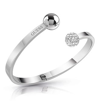 Guess Rhodium Plated Swarovski Crystal Duo Sphere Bangle - Product number 4104994