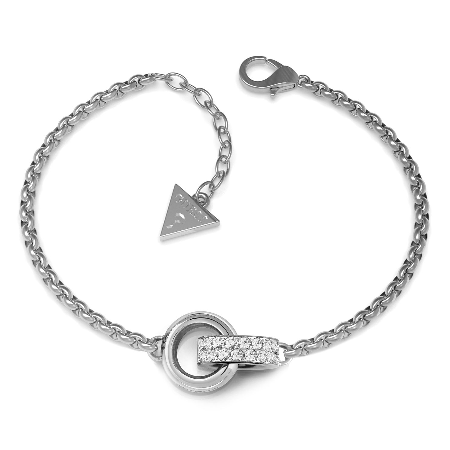 Guess Rhodium Plated Swarovski Crystal Rings Bracelet - Product number 4105028
