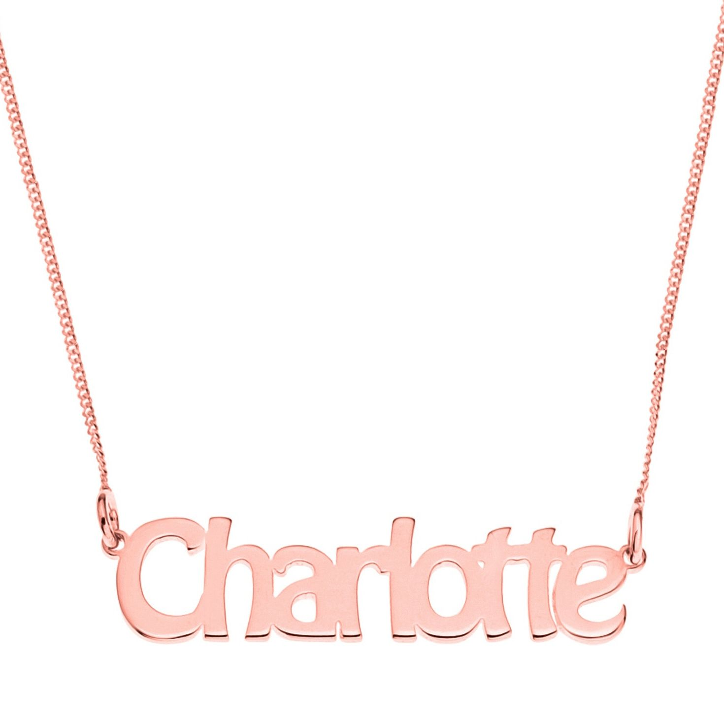 Rose Gold Plated Silver Charlotte Nameplate Necklace - Product number 4105109