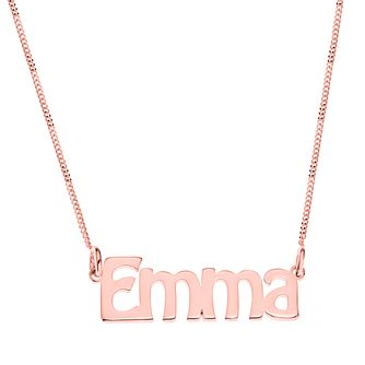 Rose Gold Plated Silver Emma Nameplate Necklace - Product number 4105168