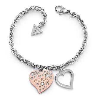 Guess Two Tone Swarovski Crystal Heart Bracelet - Product number 4105176