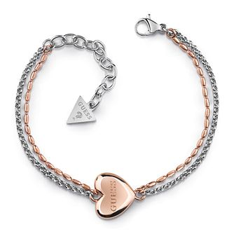 Guess Two Tone Heart Charm Double Chain Bracelet - Product number 4105184